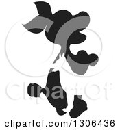 Clipart Of A Silhouetted Black And White Puppy And Grown Dog Design Royalty Free Vector Illustration