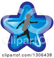 Clipart Of A Black Silhouetted Boy Running In A Blue Star Royalty Free Vector Illustration by Lal Perera