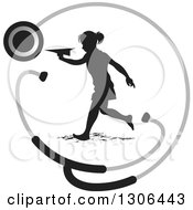Clipart Of A Black Silhouetted Girl Running And Playing With A Paper Plane In A Stethoscope Circle Royalty Free Vector Illustration by Lal Perera