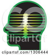 Clipart Of A Black And Green Profiled Head With Lines Royalty Free Vector Illustration