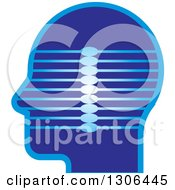 Clipart Of A Blue Profiled Head With Lines Royalty Free Vector Illustration by Lal Perera