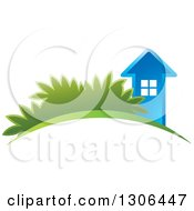 Clipart Of A Blue House On An Arch With Shrubs Royalty Free Vector Illustration