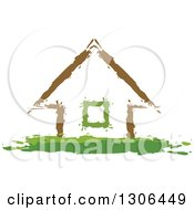 Clipart Of A Painted Brown And Green House Royalty Free Vector Illustration by Lal Perera