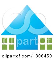 Clipart Of A Blue Arrow House With Green And White Windows Royalty Free Vector Illustration by Lal Perera