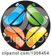 Clipart Of A Colorful Car Circle Logo Royalty Free Vector Illustration