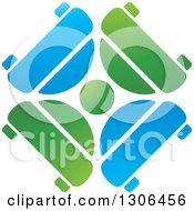 Clipart Of A Gradient Green And Blue Circle Of Cars Logo Royalty Free Vector Illustration