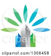 Clipart Of 3d Blue Silver And Green City Skyscrapers And Flower Petals Royalty Free Vector Illustration