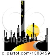 Clipart Of A City Of Skyscrapers And An Orange Road Or River Against A Sunset Royalty Free Vector Illustration