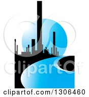 Clipart Of A City Of Skyscrapers And A Blue Road Or River Against A Moon Royalty Free Vector Illustration