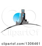 Clipart Of A City Of Skyscrapers On A Swoosh And A Blue Full Moon Royalty Free Vector Illustration by Lal Perera