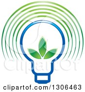 Clipart Of A Gradient Blue Light Bulb With Green Leaves And Glow Arches Royalty Free Vector Illustration by Lal Perera