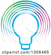 Clipart Of A Gradient Blue Light Bulb And Colorful Glow Arches Royalty Free Vector Illustration by Lal Perera