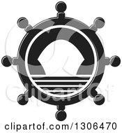 Clipart Of A Black And White Helm With A Ship Royalty Free Vector Illustration by Lal Perera