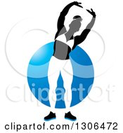 Clipart Of A Silhouetted Posing Black And White Female Bodybuilder Over A Blue Circle Royalty Free Vector Illustration