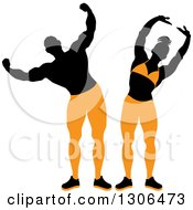 Clipart Of Posing Silhouetted Female And Male Bodybuilders In Black And Orange Royalty Free Vector Illustration