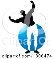 Clipart Of A Flexing Black And White Male Bodybuilder Over A Blue Circle Royalty Free Vector Illustration by Lal Perera