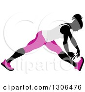 Clipart Of A Black Silhouetted Woman In Pink And White Stretching And Reaching For Her Toes Royalty Free Vector Illustration