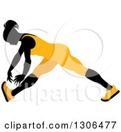 Clipart Of A Black Silhouetted Woman In Orange Stretching And Reaching For Her Toes Royalty Free Vector Illustration
