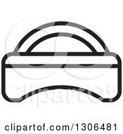 Clipart Of A Black And White Outline Bed Royalty Free Vector Illustration by Lal Perera
