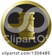 Clipart Of A Gold And Black Gavel Icon Royalty Free Vector Illustration by Lal Perera