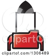 Clipart Of A Red File Folder Forming A Rocket Royalty Free Vector Illustration by Lal Perera