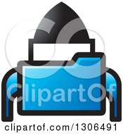 Clipart Of A Blue File Folder Forming A Rocket Royalty Free Vector Illustration by Lal Perera