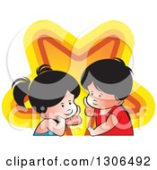 Clipart Of A Thinking Boy And Girl With A Star Royalty Free Vector Illustration by Lal Perera