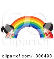 Thinking Boy And Girl At Different Ends Of A Rainbow