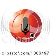 Clipart Of A Computer Arrow Cursor Over A Red Microphone Audio Icon Royalty Free Vector Illustration by Lal Perera