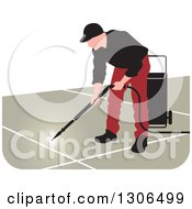 Clipart Of A Pressure Washer Worker Man In A Red And Black Uniform Royalty Free Vector Illustration by Lal Perera