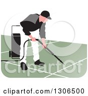 Clipart Of A Pressure Washer Worker Man In A White And Black Uniform Royalty Free Vector Illustration by Lal Perera