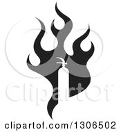 Clipart Of A Black Fire And White Silhouetted Extinguisher Royalty Free Vector Illustration