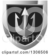 Clipart Of A Black And Silver Shield With A Trident Royalty Free Vector Illustration