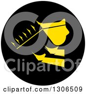Clipart Of A Yellow Industrial Bulldozer Bucket In A Black Circle Royalty Free Vector Illustration