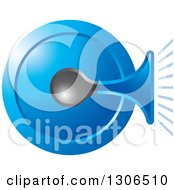 Clipart Of A Blue Horn Icon Royalty Free Vector Illustration