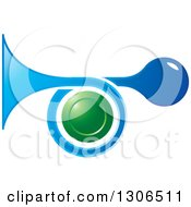 Clipart Of A Blue Horn And A Green Circle Royalty Free Vector Illustration