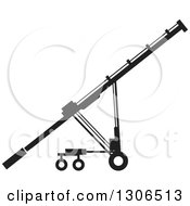 Clipart Of A Black And White Grain Auger Machine Royalty Free Vector Illustration