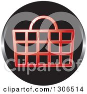Clipart Of A Round Black And Red Shopping Basket Icon Royalty Free Vector Illustration