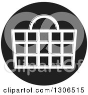 Clipart Of A Round Black And White Shopping Basket Icon Royalty Free Vector Illustration by Lal Perera
