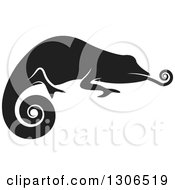 Clipart Of A Black And White Profiled Chameleon Lizard Sticking His Tongue Out Royalty Free Vector Illustration by Lal Perera