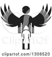 Clipart Of A Black Silhouetted Guardian Angel Over A Girl Royalty Free Vector Illustration