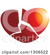 Clipart Of A Gradient Shattered Heart Royalty Free Vector Illustration by Lal Perera