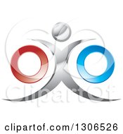 Clipart Of A Silver Man With Red And Blue Rings Royalty Free Vector Illustration by Lal Perera