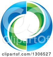 Clipart Of A Circle Of Green And Blue Swooshes Royalty Free Vector Illustration by Lal Perera