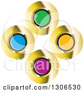 Clipart Of A Colorful Abstract Design Of Gold And Color Circles Royalty Free Vector Illustration by Lal Perera