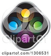 Clipart Of A Colorful Abstract Design Of Circles On A Black And Silver Diamond Royalty Free Vector Illustration by Lal Perera