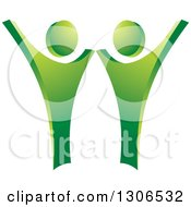 Clipart Of A Happy Green Couple Dancing Or Cheering Royalty Free Vector Illustration by Lal Perera