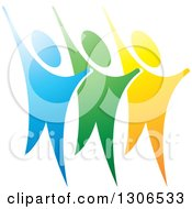 Clipart Of A Trio Of Happy Blue Green And Yellow People Cheering Royalty Free Vector Illustration by Lal Perera