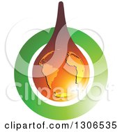 Clipart Of A Shiny Amber Colored Drop With Earth Over A Green Circle Royalty Free Vector Illustration by Lal Perera
