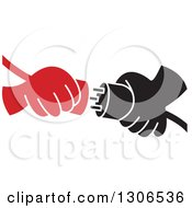 Clipart Of Red And Black Cartoon Hands Connecting Plugs Royalty Free Vector Illustration